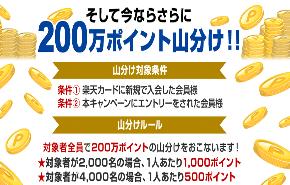 楽天カード、新規入会で2,000,000ポイント山分けキャンペーン実施中!
