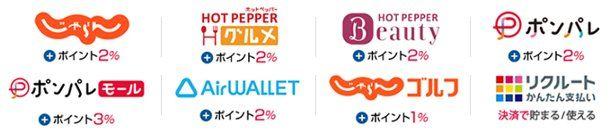 リクルートカードで貯まるポイントについて ・リクルートカードで貯まるポイントはリクルートポイントになります。 ・1ポイント=1円換算となり、通販・ショッピングサイトの「ポンパレモール」や  宿・ホテルの予約サイト「じゃらん」、ヘアサロン&ビューティサロン予約サイトの  「Hot Pepper Beauty」、飲食情報サイト「ホットペッパー グルメ」等のサイト
