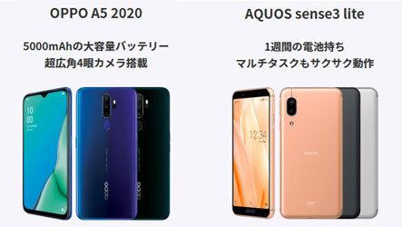 AQUOS sense3 liteまたはOPPO A5 2020