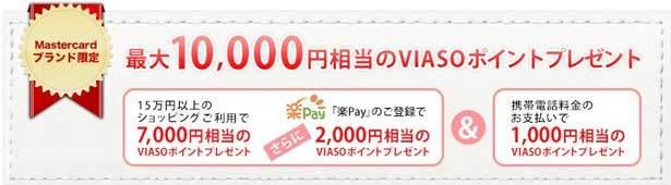VIASOカードでは新規入会キャンペーン実施中につき、最大10,000円相当のVIASOポイントプレゼント