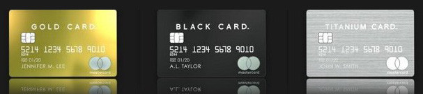 ラグジュアリーカードには「GOLD CARD」・「BLACK CARD」・「TITANIUM CARD」