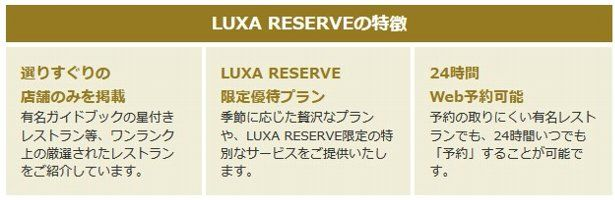 LUXA RESERVEの特徴