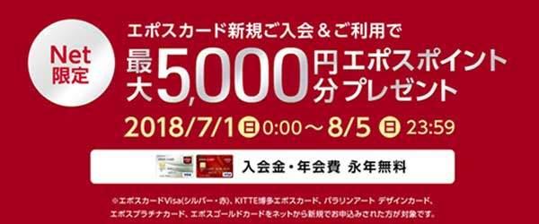 エポスカード、期間限定!(2018年7月1日から2018年8月5日まで)新規入会で5,000ポイントプレゼントキャンペーン専用申し込みボタン