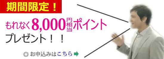 楽天カード、期間限定!新規入会+利用でもれなく8,000ポイントプレゼントキャンペーン申し込み専用バナー
