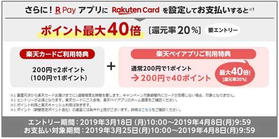 楽天ペイアプリに楽天カードを設定して支払うと、ポイント最大40倍