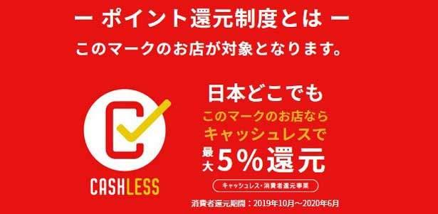 キャッシュレス・消費者還元事業に伴い、利用金額の2%もしくは5%還元