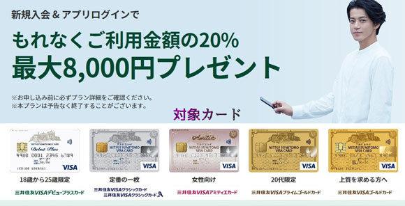 三井住友VISAカード、新規入会+Vpassアプリログインでもれなく利用金額の20%(最大8,000円)プレゼントされる入会キャンペーン開催中です