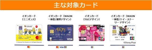 イオンカード(WAON一体型)の主な対象カード