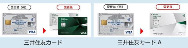 券面の種類について三井住友カードと三井住友カード Aの大きな相違点