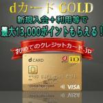 dカード GOLDへの新規入会+利用等で13,000円相当のドコモポイントがもらえる