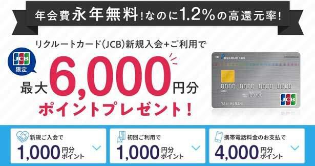 リクルートカード(JCB)の入会キャンペーンで6000ポイントもらえる