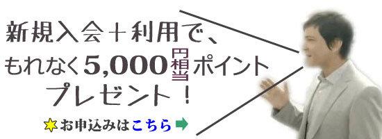 楽天カード、新規入会+利用で5,000ポイントプレゼントキャンペーン専用お申込ボタン